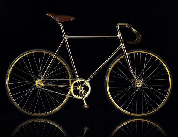 xe đạp đua mạ vàng Aurumania Crystal Edition Gold Bike