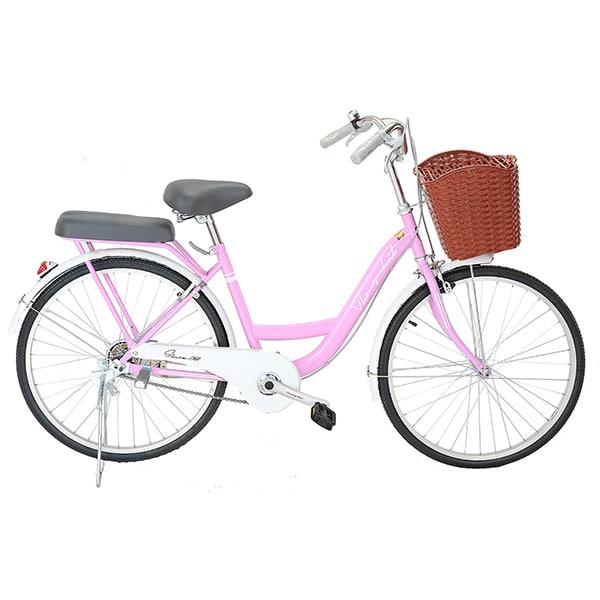 xe đạp thống nhất new 24 màu hồng nhạt