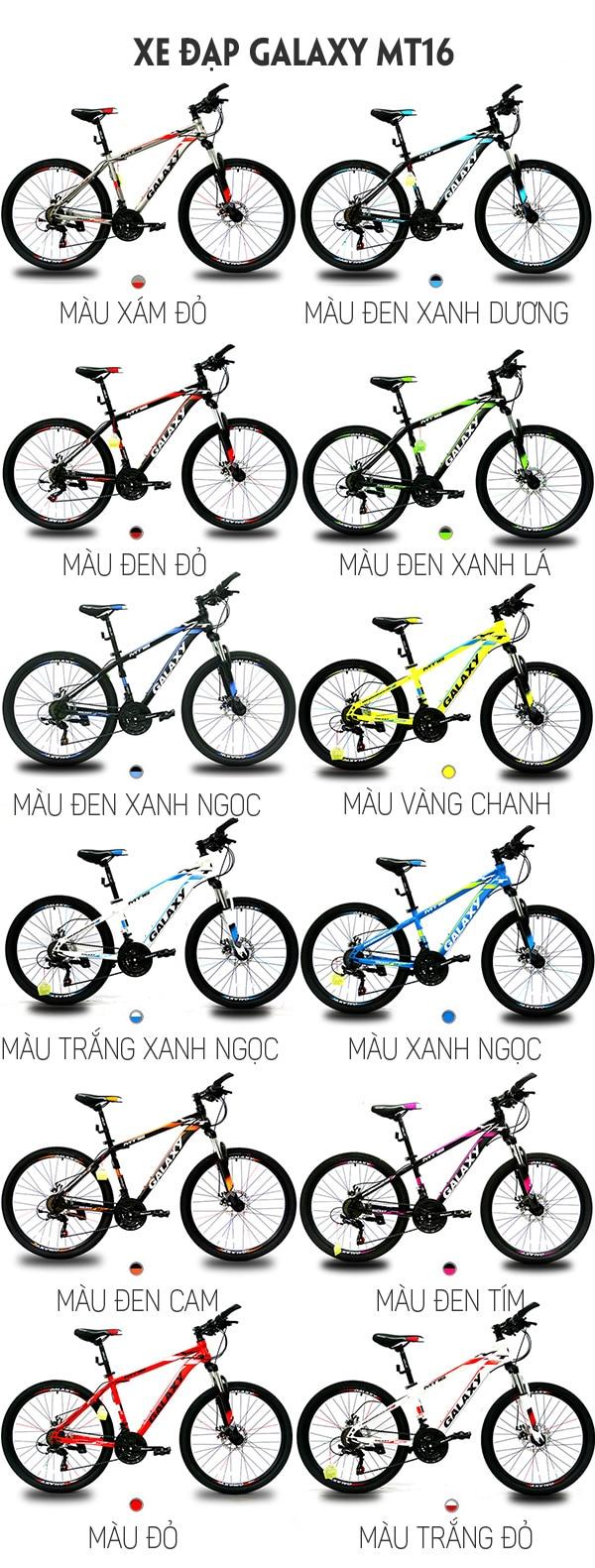 12 màu sắc trên xe đạp galaxy mt16