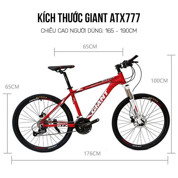 Kích thước xe đạp giant atx 777