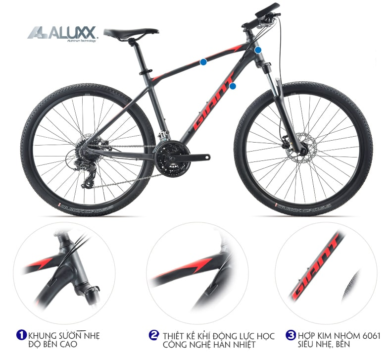 Khung sườn hợp kim nhôm xe đạp giant atx 810