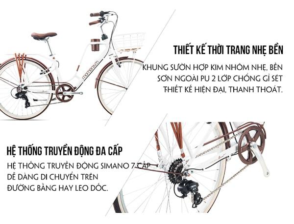 Thiết kế thời thượng với nhiều linh kiện cao cấp xe đạp giant momentum latte