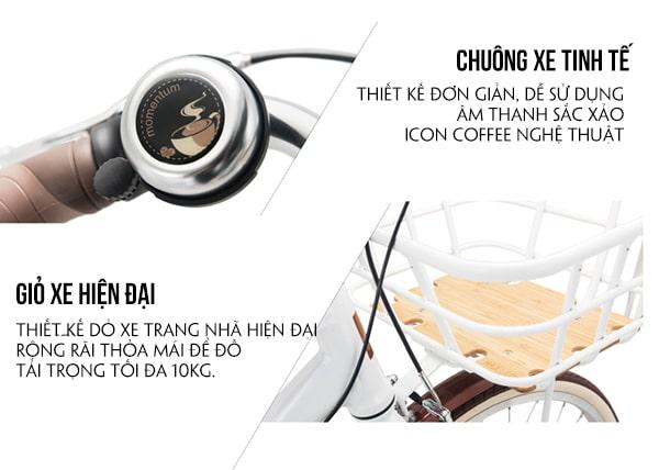 Chuông và giỏ xe giant momentum latte