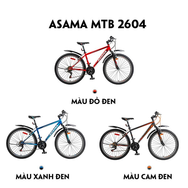 3 màu xe đạp asama mtb 2604
