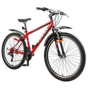 xe đạp asama mtb 2604 màu đỏ đen chụp nghiêng